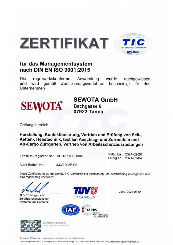 ISO 9001 Zertifikat 2021 - 2024