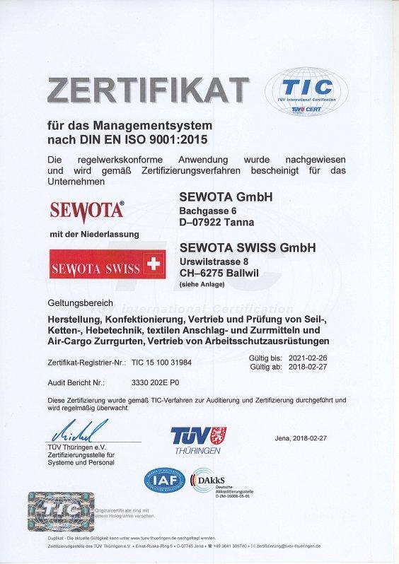 ISO 9001 Zertifikat 2018 Deutsch