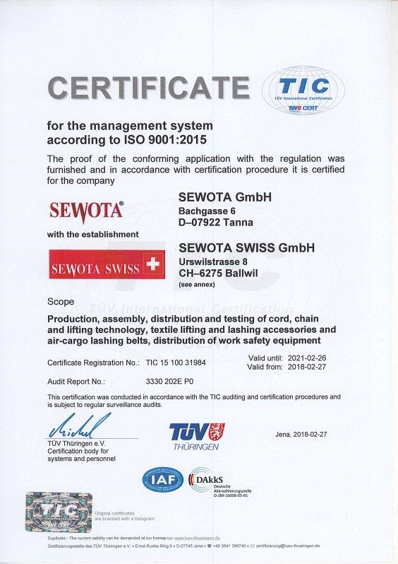 ISO 9001 Zertifikat 2018 English