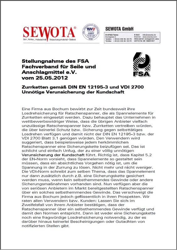 Stellungnahme FSA (Fachverband für Seile und Anschlagmittel e.V))